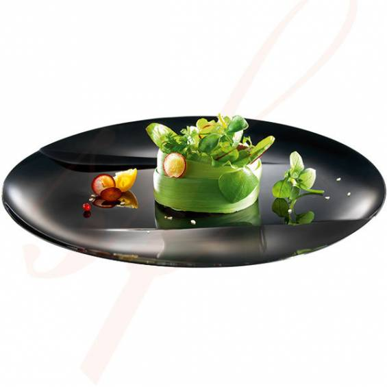 Emerald Premium Black Dinner Plastic Plate 9.5 in. 50/cs