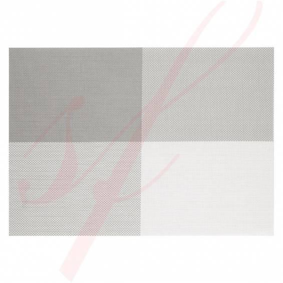 Modern White & Grey Woven Placemats - 12/cs