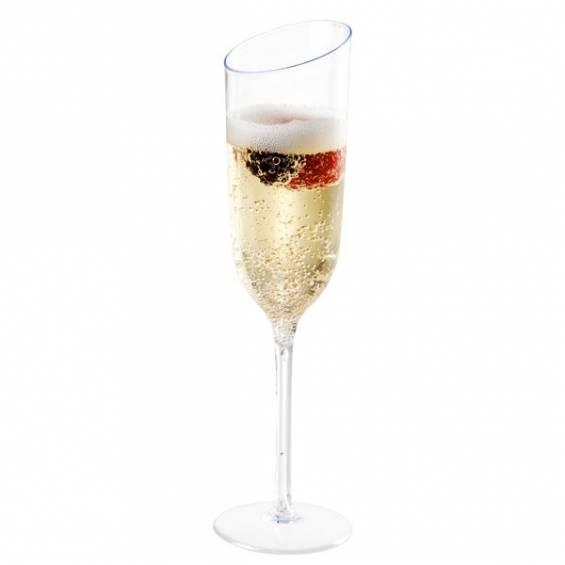 Slanted Plastic Champagne Flute 3.5 oz. - 50/cs - $0.75/pc