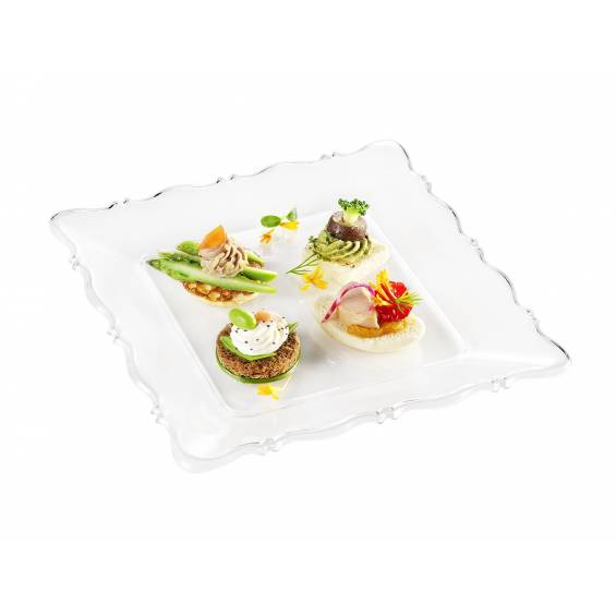Baroque Square Plastic Plate 7 in. Clear - 100/cs - $0.49/piece
