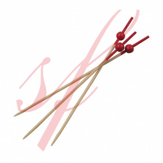 Red Mini Ball Bamboo Skewer 4.7 in. - 1000/cs - $0.02/pc