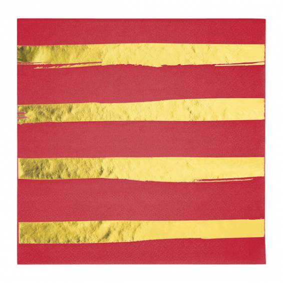 Red/Gold Luncheon Paper Napkin - 16/cs
